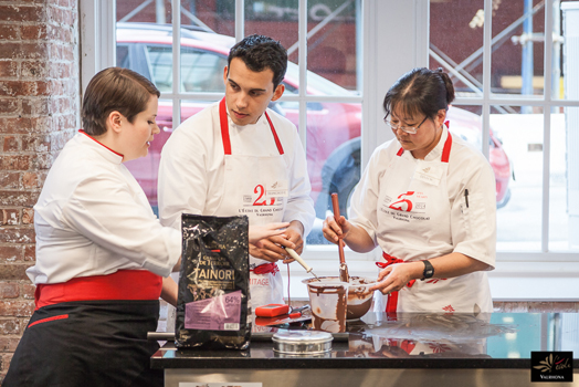 chefs at work at Valrhona Chocolaterie in Brooklyn, NYC