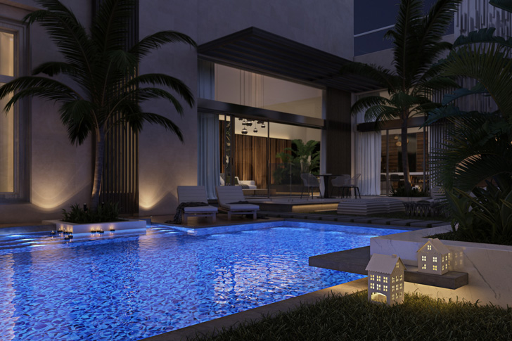 swimming pool and patio in luxury villa