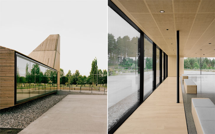 building exterior reflects the surrounding landscape
