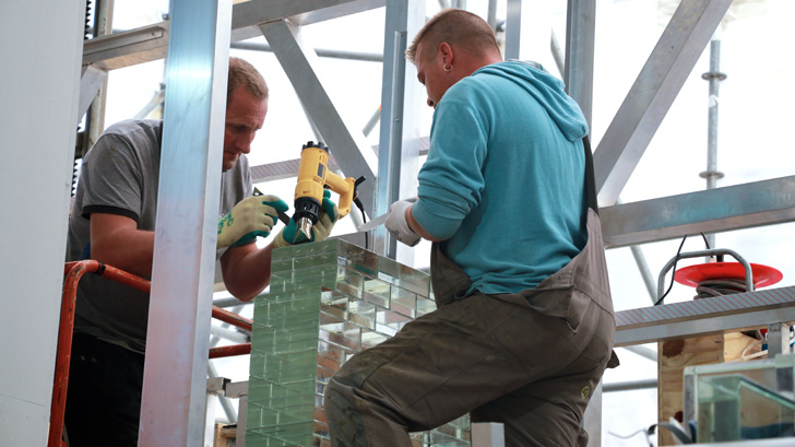 working with especially engineered glass bricks