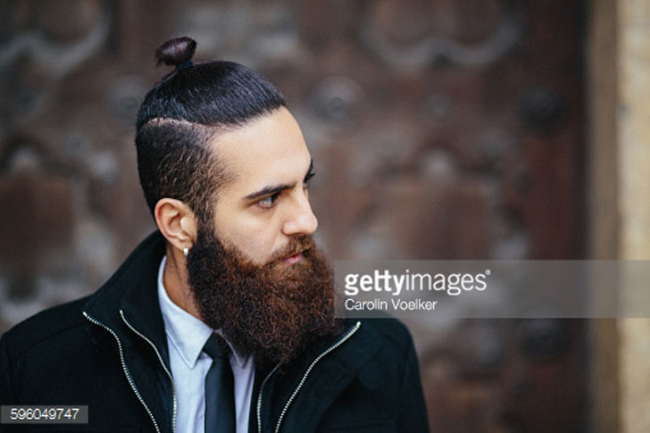 men's hairstyle - top knot