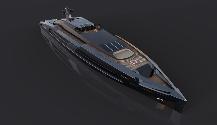 Aqueous 120 superyacht - front view