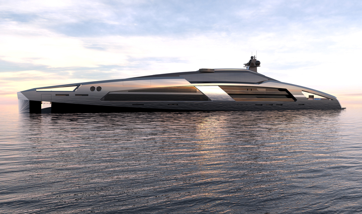 Aqueous 120 superyacht - side profile