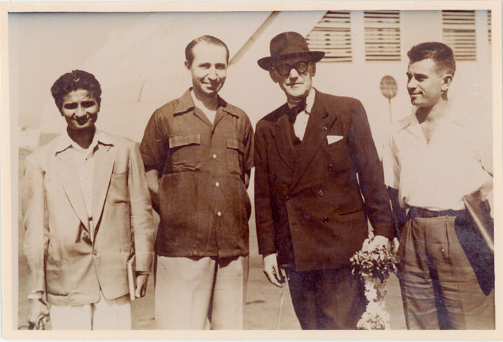 Ar. Arvind Talati with Corbusier in Bombay 1953