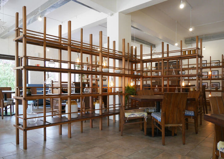 """wooden shelving amazo restaurant banduk smith architects indiaartndesign"""