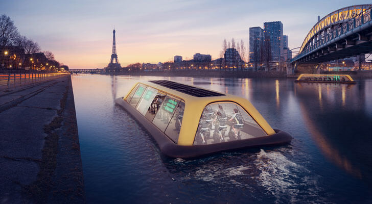 """floating gym Paris river seine CRA indiaartndesign"""