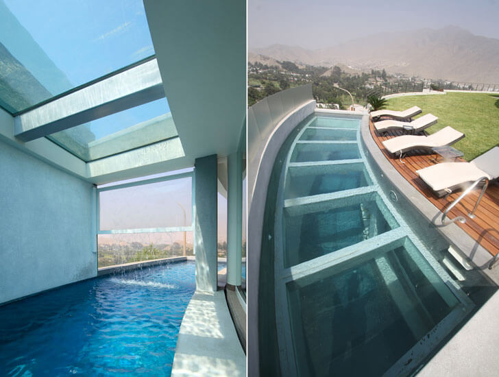 """glass topped water body Casa O Gomez Guerrero Architects indiaartndesign"""