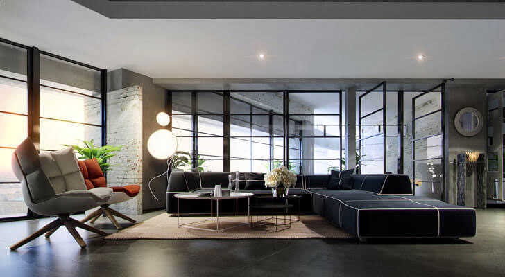 """plush living area NY Loft AHA Studio indiaartndesign"""
