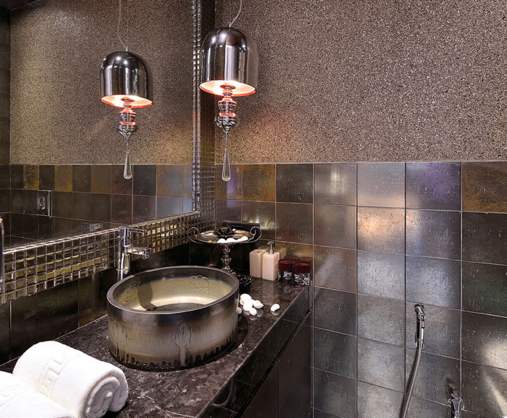 """metallic tiles bathroom SMStudio indiaartndesign"""