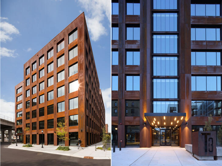 """facade by day and night Timber building MGArchitecture DLR Group indiaartndesign"""