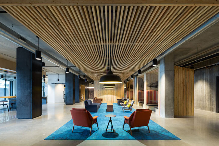 """timber batten ceiling Timber building MGArchitecture DLR Group indiaartndesign"""