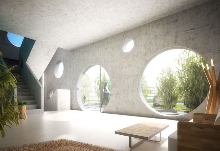 """circular window openings Y House MVRDV indiaartndesign"""