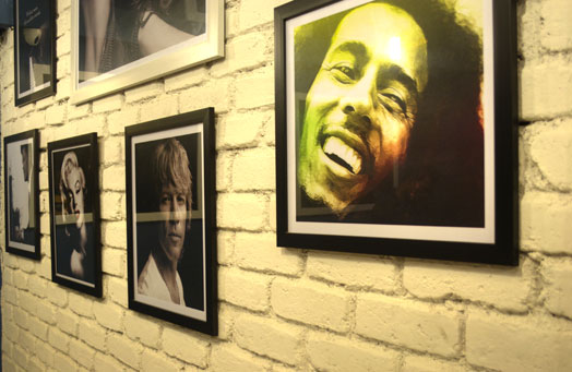 cafeteria with bob marley photograph