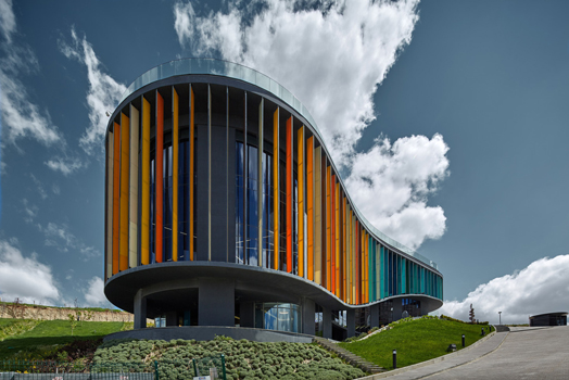 coloured fins facade