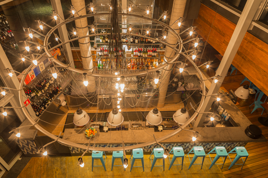 double-height space in Jamie Oliver's restaurant at Sao Paulo