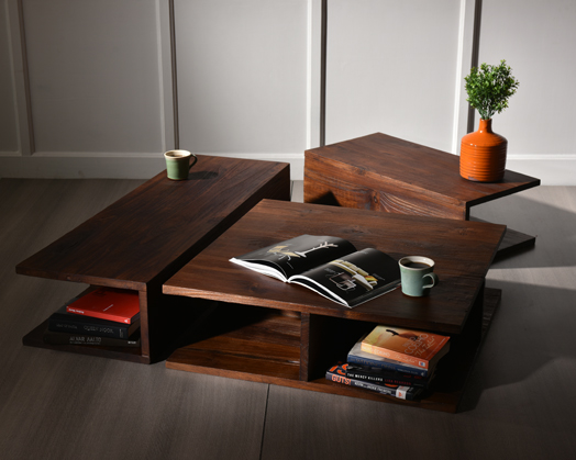 Solid texture wood coffee table ensemble in burnt and oil finish