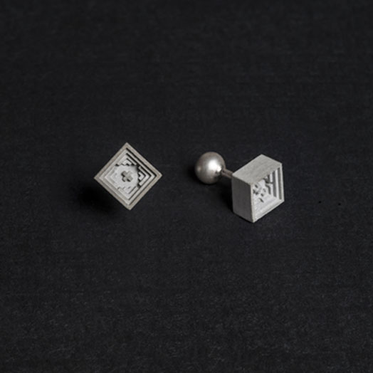 cufflinks made of concrete and sterling silver