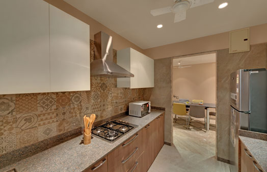 warm textured tiles in kitchen