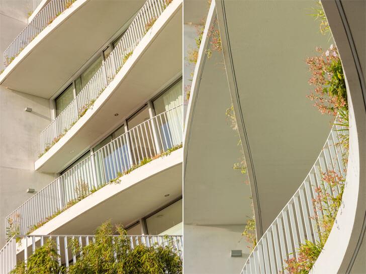wide undulating balconies