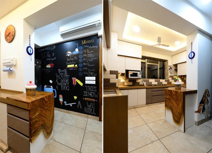 kitchen with pet corner