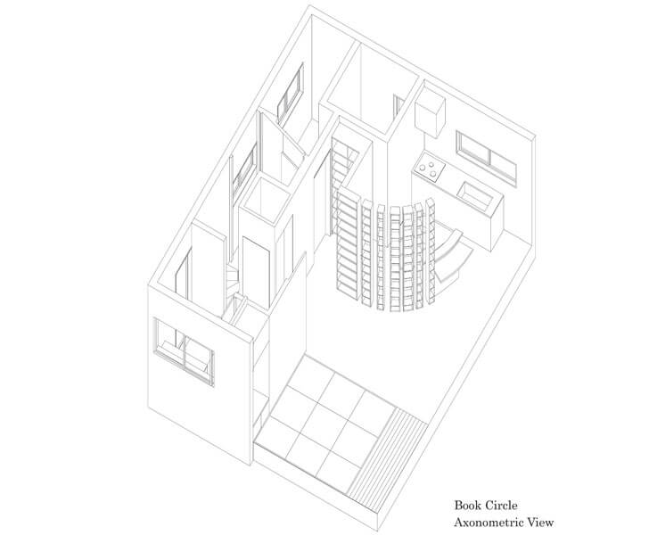 book circle axonometric view
