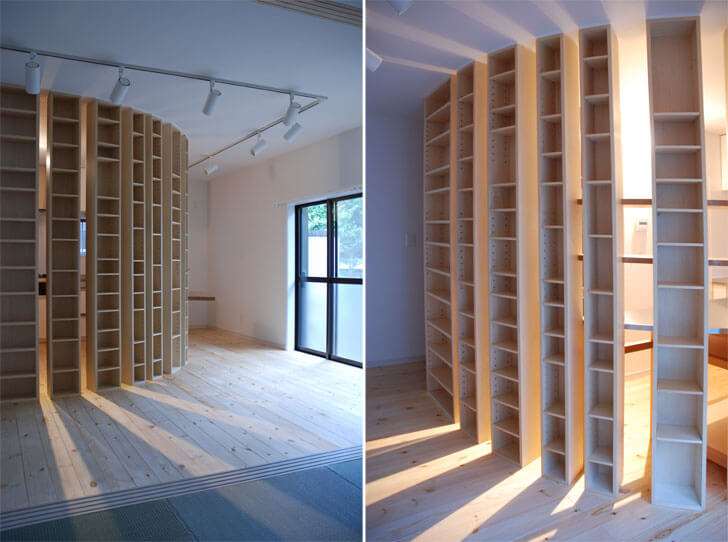 bookshelves as light source