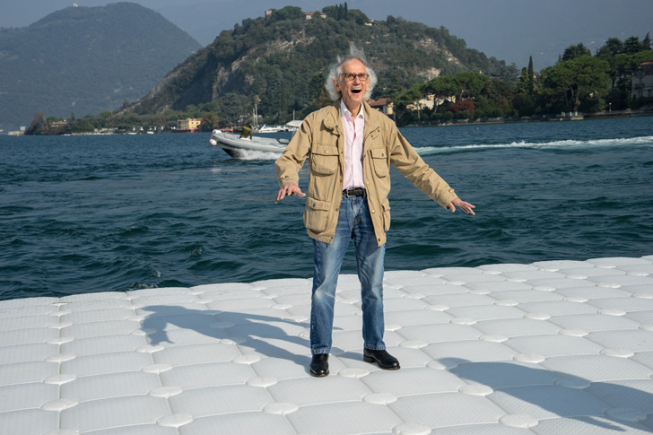 Christo testing the floating pier