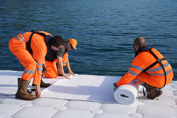 installing the felt cover on the pier
