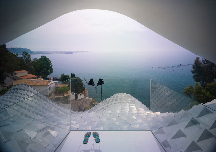 overlooking the Mediterranean sea