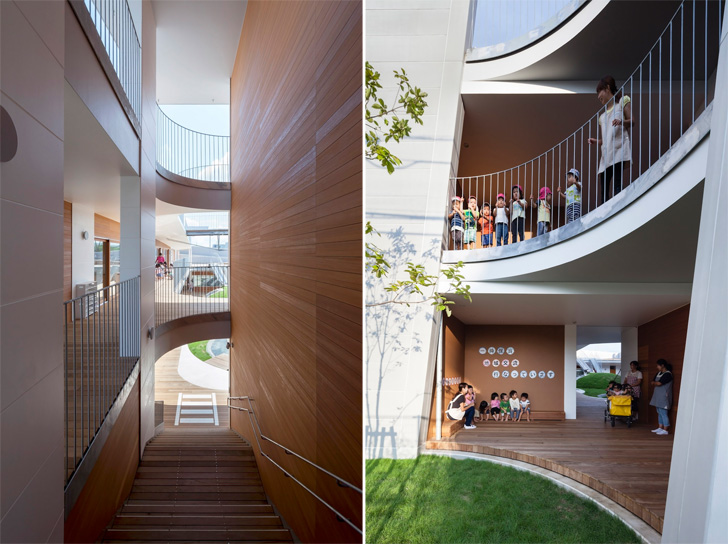 two-storey Amanenomori Nursery School, Japan