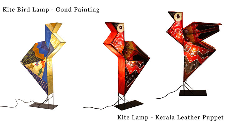 kite lamps using kerala leather and gond paintings