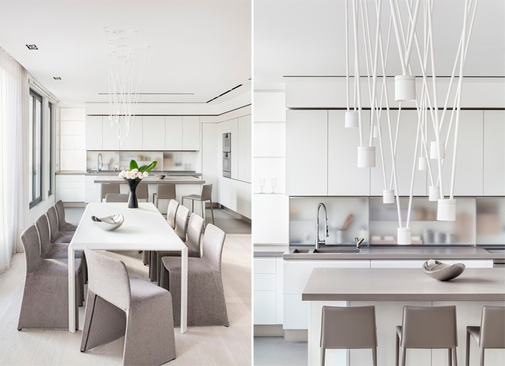 neutral colour palette in dining area with accent lighting