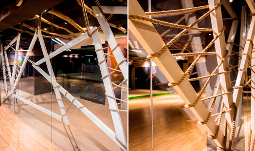 copper-metal-frames-and-ropes as partitions