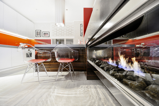 acrylic chairs and bio fireplace