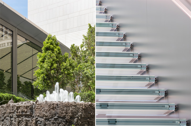 Ruth Asawa fountain and glass stairs