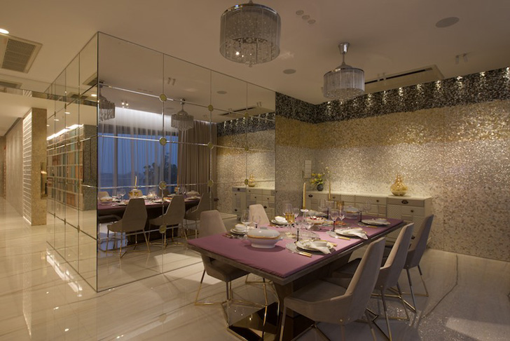 mirrored cube enhances dining area