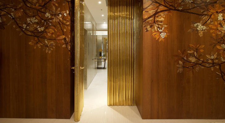 gold hued entrance door