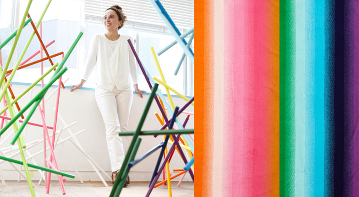 Designer Emmanuelle Moureaux and samples from the yurariro collection