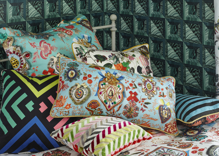 patterned vivid coloured cushions