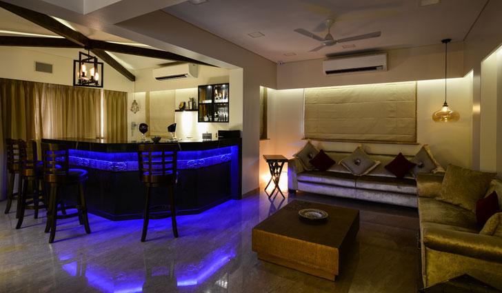 bar with LED lights