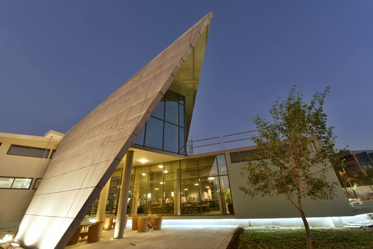 origami-like concrete fold of the building