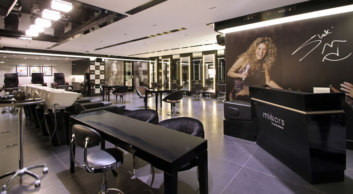 interiors of Mirrors Salon, Hyderabad
