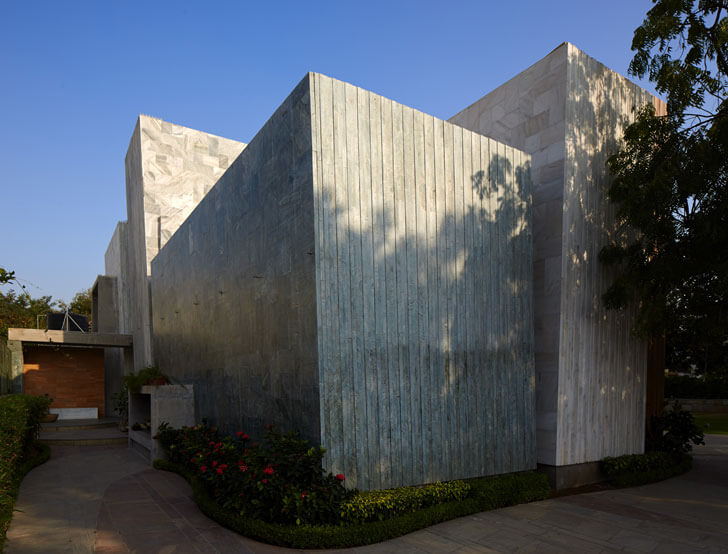 """building exterior marbled house matharoo associates indiaartndesign"""