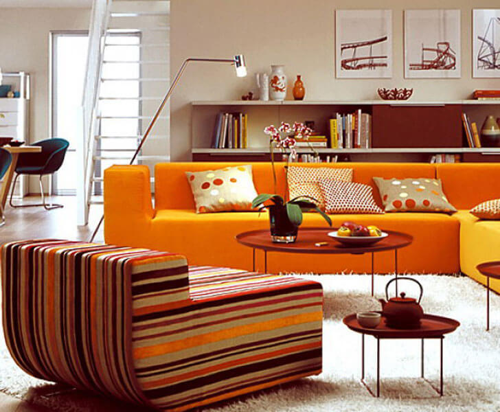 """orange sofa indiaartndesign"""