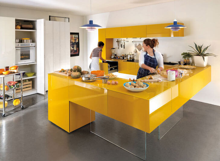 """yellow kitchen indiaartndesign"""