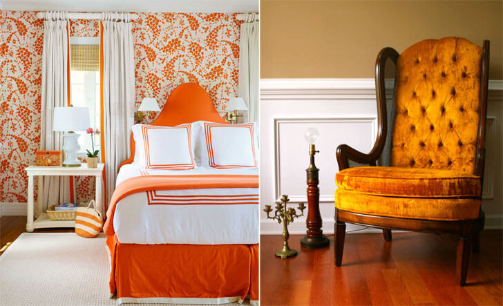 """orange coloured theme bedroom indiaartndesign"""