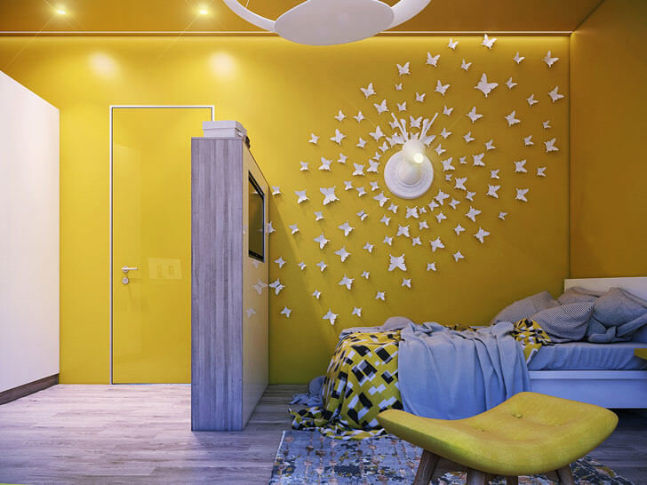 """yellow themed bedroom indiaartndesign"""