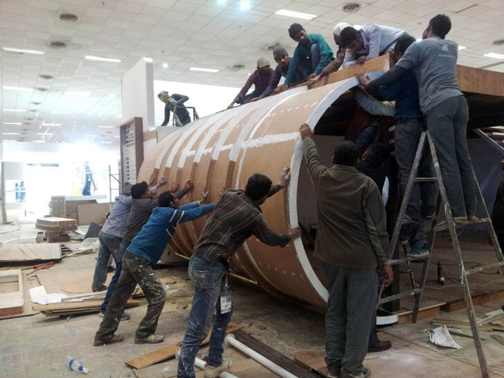 making the ply curvature for the pavillion design