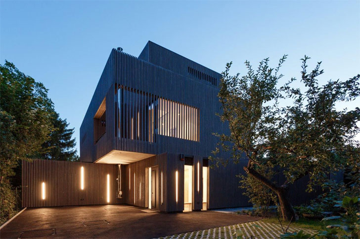 grey fir wood battens facade