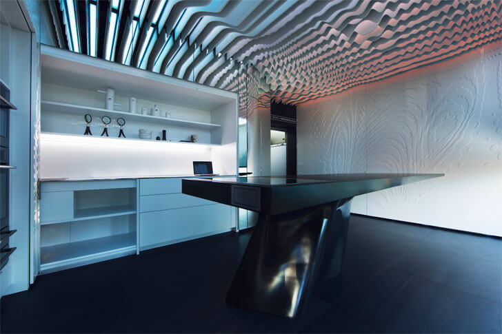 krion table with undulating ceiling